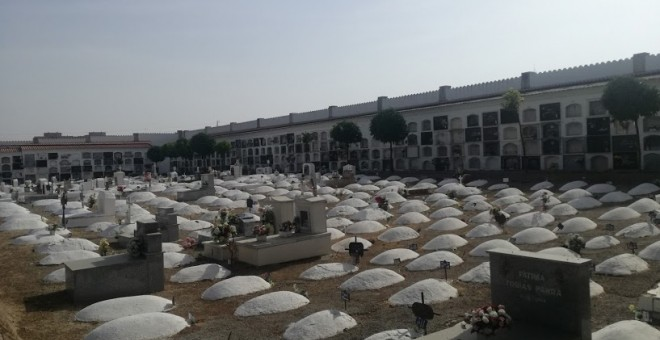 Tumbas de las víctimas del franquismo en el cementerio de Badajoz. / B.A