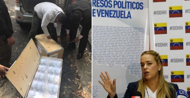 Agentes de la policía científica registran las cajas con dineros de la opositora Lilian Tintori (derecha)- AGENCIAS