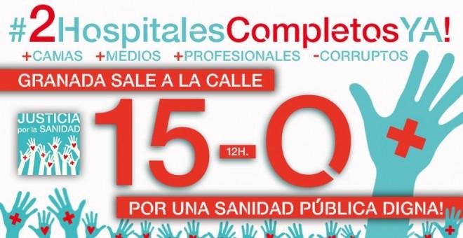 Cartel de la próxima manifestación en Granada