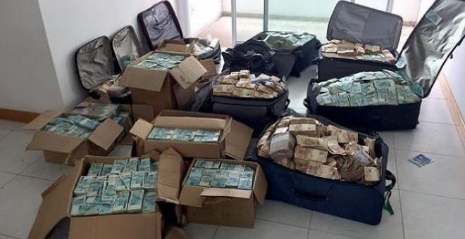 Valijas y cajas repletas de dinero en el 'bunker' de Geddel Vieira Lima / Policía Federal