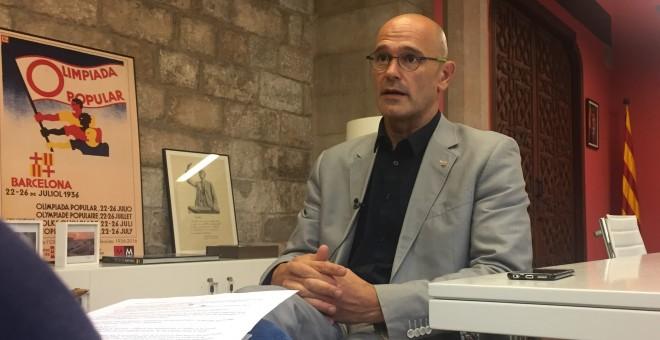 Raül Romeva en un moment de l'entrevista amb diari Públic