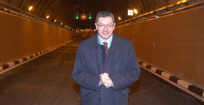 Alberto Ruiz-Gallardón, en uno de los túneles de la M-30. Ayuntamiento de Madrid