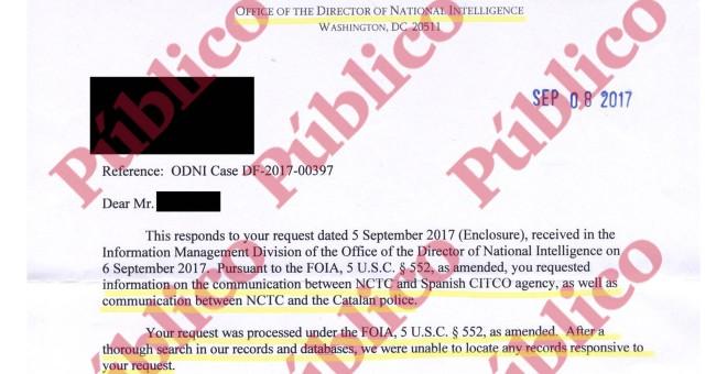 Comienzo de la respuesta de la Oficina del Director Nacional de Inteligencia de EEUU sobre los supuestos mensajes del NCTC a los Mossos y al CITCO.