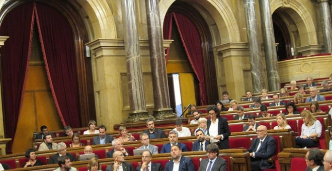 Marta Rovira (ERC) en el pleno del Parlament. EUROPA PRESS