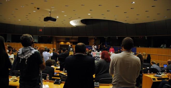 Leila Khaled durante su visita al Parlamento Europeo./ PÚBLICO