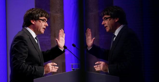 Puigdemont, durante su comparecencia de este lunes. REUTERS/Albert Gea