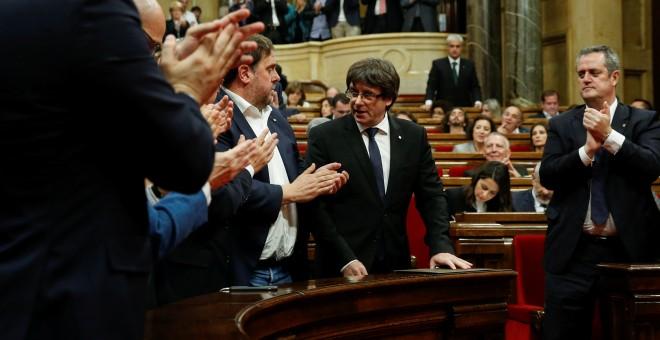 División de opiniones en el Parlament tras la comparecencia de Puigdemont. - REUTERS