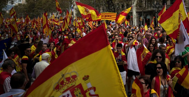 Aspecto de la manifestación en Barcelona por el día de la Fiesta Nacional. REUTERS/Juan Medina