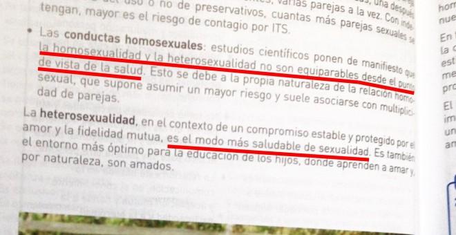 Libro de 3º de la Eso afirma que la heterosexualidad es la forma más sana de sexualidad