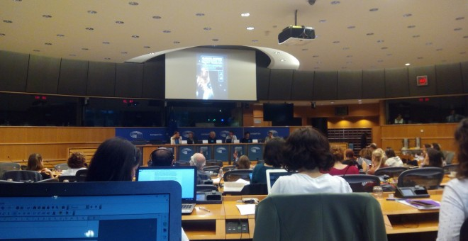 Imagen de la conferencia 'Justicia Climática' organizada por Los Verdes en en el Parlamento Europeo./PÚBLICO