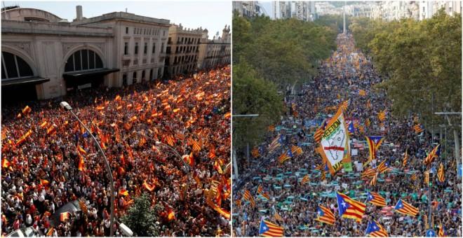 A la izquierda, manifestación en Barcelona organizada por Sociedad Civil Catalana el pasado 8 de ocubre; a la derecha, marcha convocada por ANC y Òmnium Cultural el pasado 21 de octubre, tras el ingreso en prisión de sus presidentes Jordi Sánchez y Jordi
