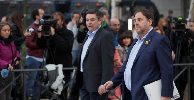 El vicepresidente cesado de la Generalitat de Catalunya Oriol Junqueras, a su llegada a la sede de la Audiencia Nacional. - EFE