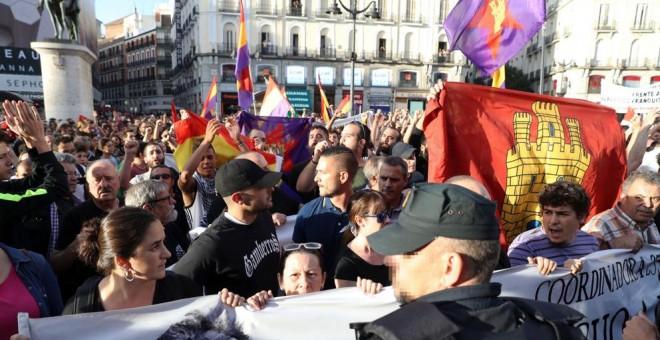 Protesta en Sol por el derecho a decidir de Catalunya.- EFE
