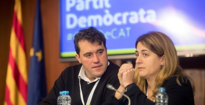 Los coordinadores generales del PDeCat, David Bonvehí y Marta Pascal durante el Consejo Nacional del PDeCat. EFE/Marta Pérez