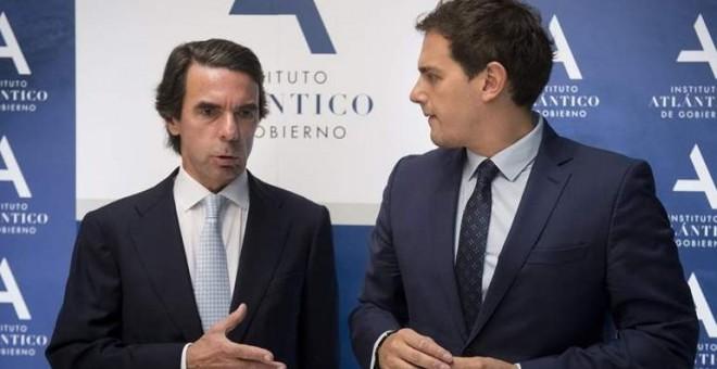 Albert Rivera participó hace unos meses en un acto del Instituto Atlántico donde José María Aznar organizó un máster de 'liderazgo'. Archivo EFE