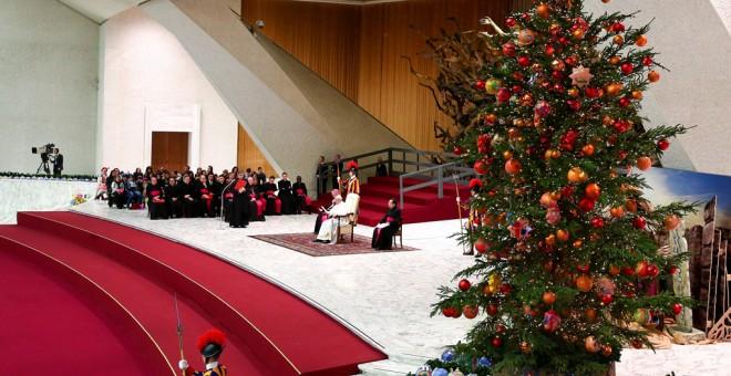 El Papa Francisco, durante su audiencia semanal de los miércoles, en la sala Pablo VI del Vaticano. REUTERS/Alessandro Bianchi