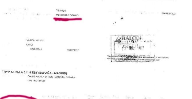 El resguardo del viaje y la instancia que en julio de 2013 Mercedes Obiang, hija del dictador de Guinea Ecuatorial, hizo a Madrid y que se encontró en el registro del pequeño Nicolás junto a pasaportes de trabajadores extranjeros.