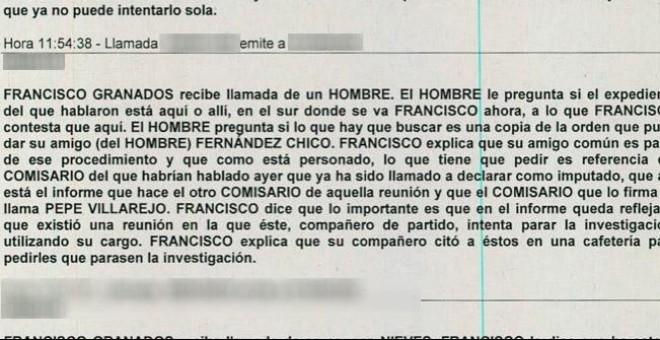 Transcripción de la Guardia Civil de una de las conversaciones de Granados, intervenida en el marco de la Operación Púnica.