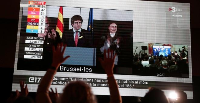 Los seguidores de JxCat observan en una pantalla en Barclona la intervención del president cesado Carles Puigdemont, valorando desde Bruselas los resultados de las elecciones del 21-D.. REUTERS/Albert Gea