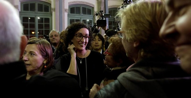 La número 2 d'ERC, Marta Rovira, després de valorar els resultats de les eleccions del 21D. EFE / Alberto Estévez