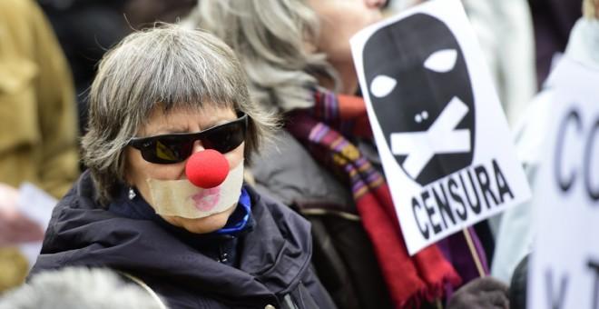 Protesta contra la 'ley Mordaza' en Madrid. - AFP
