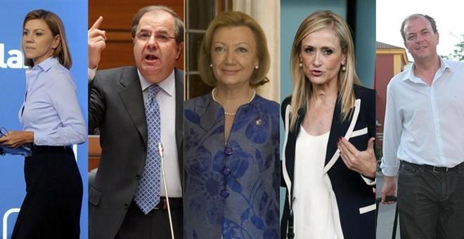 María Dolores de Cospedal, Juan Vicente Herrera, Luisa Fernanda Rudi, Cristina Cifuentes y José Antonio Monago.