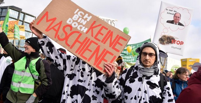 Un grupo de manifestantes durante la manifestación. - EFE