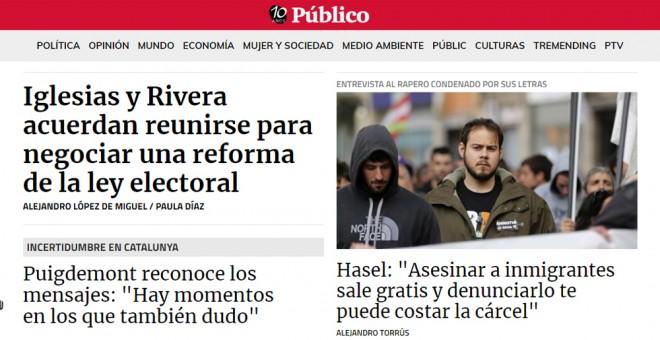 Detalle de la portada de 'Público' del 31 de enero de 2018.