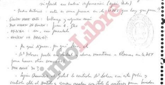 Fragmento del manuscrito secreto incautado a Ignacio González dentro de la Operación Lezo, que publica el diario digital 'InfoLibre'.