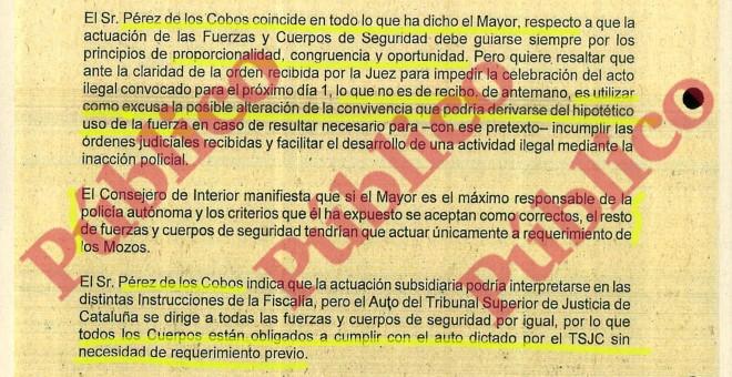 Fragmento del Acta de la Sesión Extraordinaria de la Junta de Seguridad de Cataluña del día 28 de septiembre de 2017.