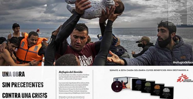 Campaña El refugio del Sonido, en EL PAIS para Médicos sin Fronteras con la fotografía de Salam Aldeen con que Santi Palacios ganó el V Premio Nacional de Fotoperiodismo.