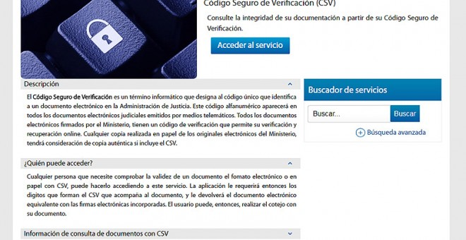 Pantalla de la Sede Judicial Electrónica en la página web del Ministerio de Justicia, a través de la que puede accederse a sentencias mediante el uso de CSV.
