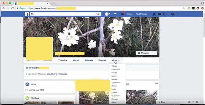 Perfil de la secretaria judicial en Facebook