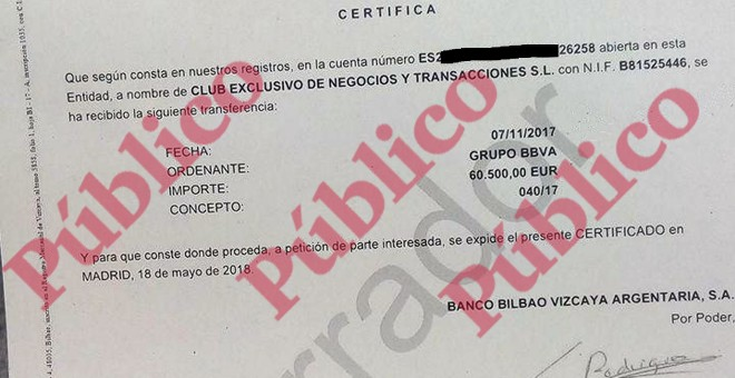 Fragmento de uno de los certificados emitidos por el BBVA sobre los ingresos de 60.500 euros en la cuenta corriente del excomisario Villarejo.