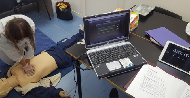 Imagen del estudio del uso de 'La Macarena' para mejorar la calidad de las compresiones realizadas durante la reanimación cardiopulmonar (RCP).    Carrero E, et al.
