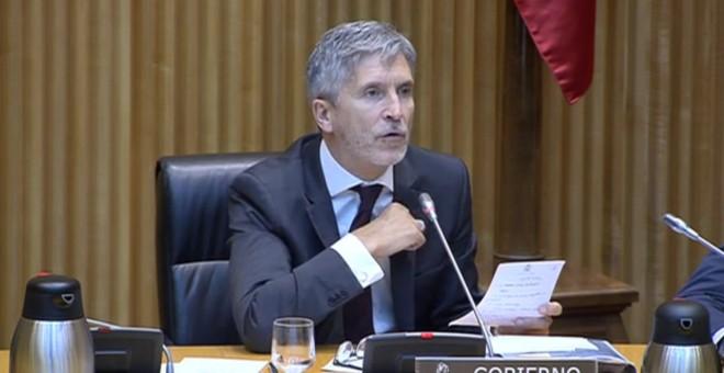 El ministro del Interior, Fernando Grande-Marlaska, durante su comparecencia en el Congreso de esta semana