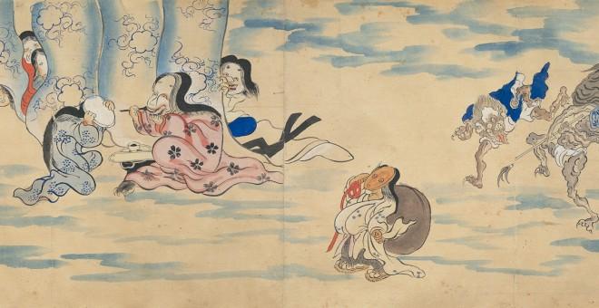Rollo ilustrado del 'Desfile nocturno de los cien demonios'.- MIYOSHI CITY