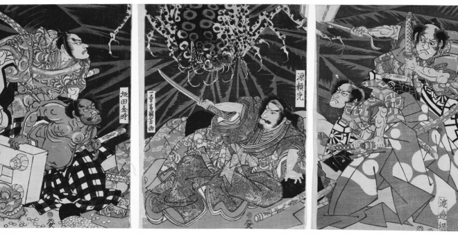 Imagen del ataque de la araña-monstruo, Tsuchigumo Utagawa Kuniyoshi (1798-1861) Período Edo, S. XIX