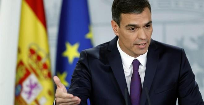 Pedro Sánchez durante la rueda de prensa después del último Consejo de Ministros antes del parón de verano | Foto: EFE