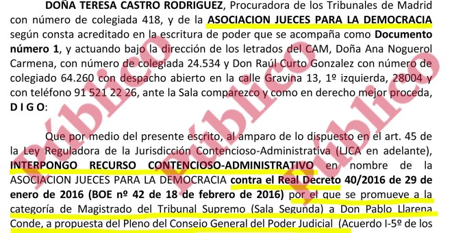Escrito de Jueces para la Democracia a la Sala de lo Contencioso Administrativo del Supremo contra el ascenso del juez Llarena a la Sala Segunda.