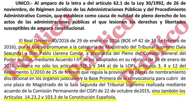 Motivos del recurso de JXD contra el ascenso de Llarena al Supremo.