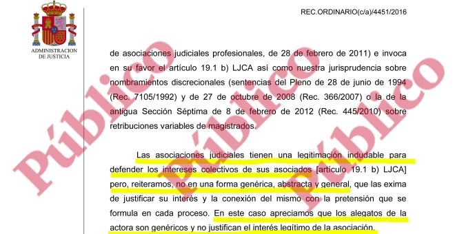 Fragmento de la sentencia del Contecioso-Administrativo sobre el recurso de JxD contra el ascenso de Llarena al Supremo.