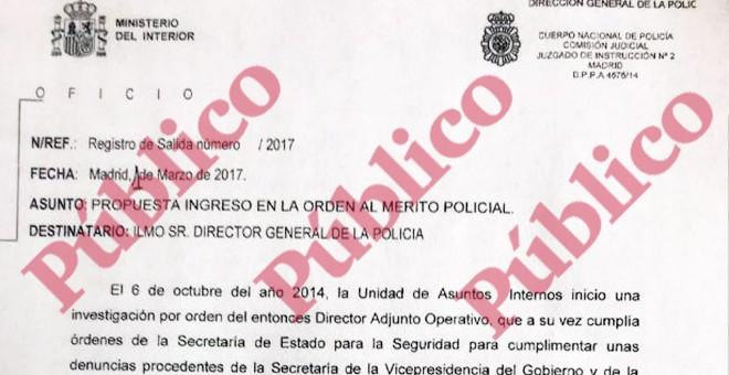 Encabezado de la carta al director general de la Policía en la que el juez Zamarriego solicitaba que fueran condecorados los policías de la Comisión Judicial que destapó las cloacas de Interior a partir del Caso Nicolás.