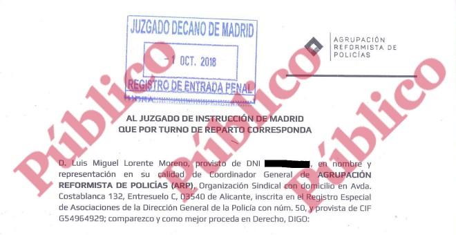 Encabezado de la denuncia presentada este lunes por la Agrupación Reformista de Policías contra la concesión de medallas rojas en presuntos delitos de prevaricación y malversación.