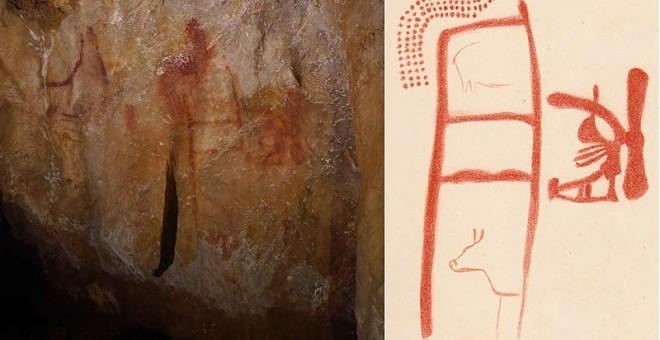 Panel 78 en la cueva La Pasiega (Cantabria) y dibujo del panel realizado en 1913 por el arqueólogo francés Henri Breuil./JOAO ZILHAO/BREUIL