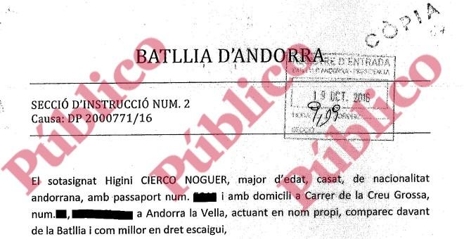 Encabezado de la querella de Higini Cierco contra Martín-Blas y Barroso, con registro de entrada el 19 de octubre de 2016.