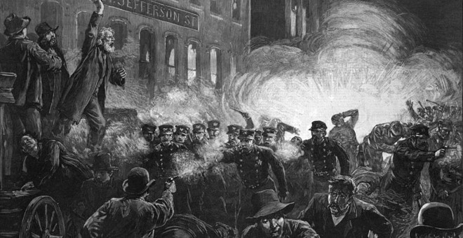 Ilustración sobre la bomba que estalló en Chicago, que condenó a la horca a los Mártires de Chicago.