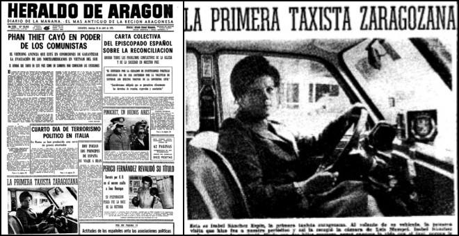 Portada del 'Heraldo' con Isabel Sánchez Espín, la primera taxista de Zaragoza, fotografiada por Luis Mompel.