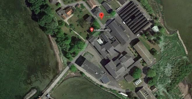 Instalaciones actuales en la isla de Lindholm, centro experimental de enfermedades contagiosas en animales.