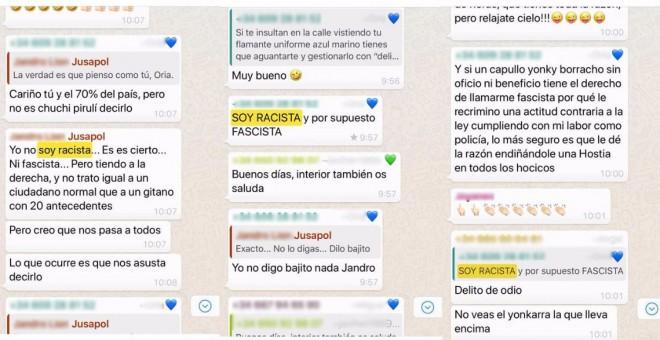 WhatsApps ultras en chats de la Policía Nacional.